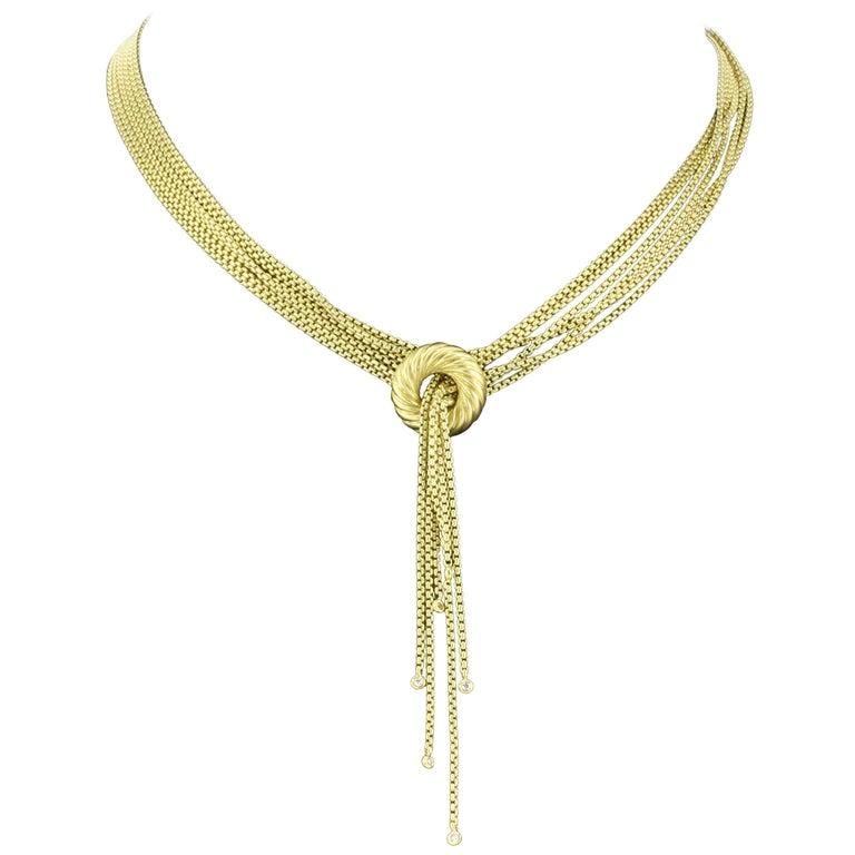 David Yurman 18 Karat Satin Finish Yellow Gold and Diamond Lariat Necklace