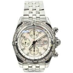 Breitling Stainless Steel Diamond Chronomat Evolution automatic Wristwatch