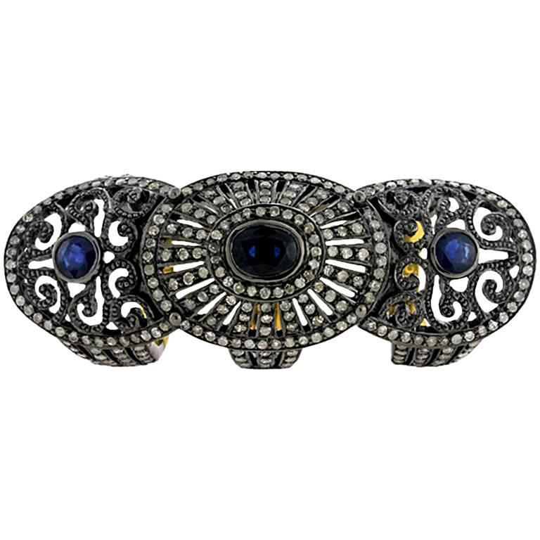 Sapphire and Diamond Gladiator Ring in 18 Karat Gold 1