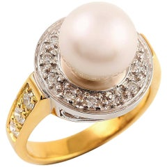 Kian Design Two-Tone Round South Sea Pearl and Diamond Ring