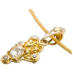 Kian Design 18 Carat Yellow Gold Nugget, White Sapphire and Diamond Necklace