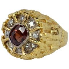 Brown Zircon Diamond Gold Modernist Ring