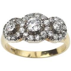 Antique Triple Cluster Diamond 1.60 Carat Ring