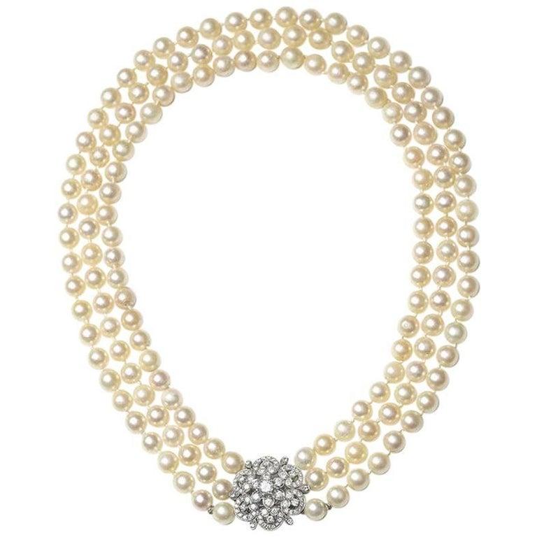 Three-Row Pearl Necklace