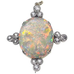 Antique Opal and Diamond Brooch
