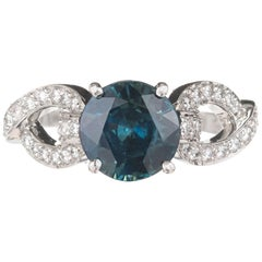 Peter Suchy 2.70 Carat Round Sapphire Diamond Platinum Engagement Ring