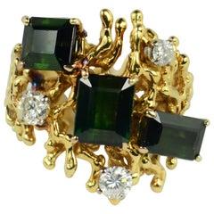 Green Tourmaline Diamond Abstract Postmodern Ring