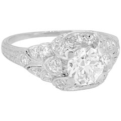 .78 Carat Diamond Antique Engagement Ring Platinum