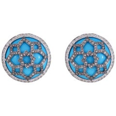Handcrafted Art Deco Turquoise and Diamond 18 Karat Gold Stud Earrings