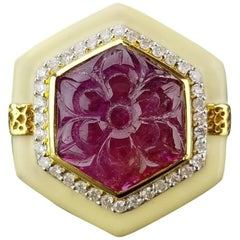 Carved 11 carat Ruby and White Enamel 18K Gold Cocktail Ring