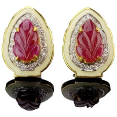 5.23 Carat Carved Ruby and White Enamel Stud Earrings