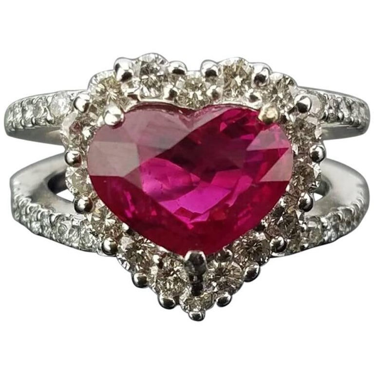 GRS Certified 3.02 Carat Burma Ruby and Diamond Cocktail Ring