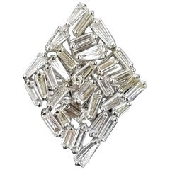 Diamond Baguette and 18 Karat White Gold Cocktail Ring