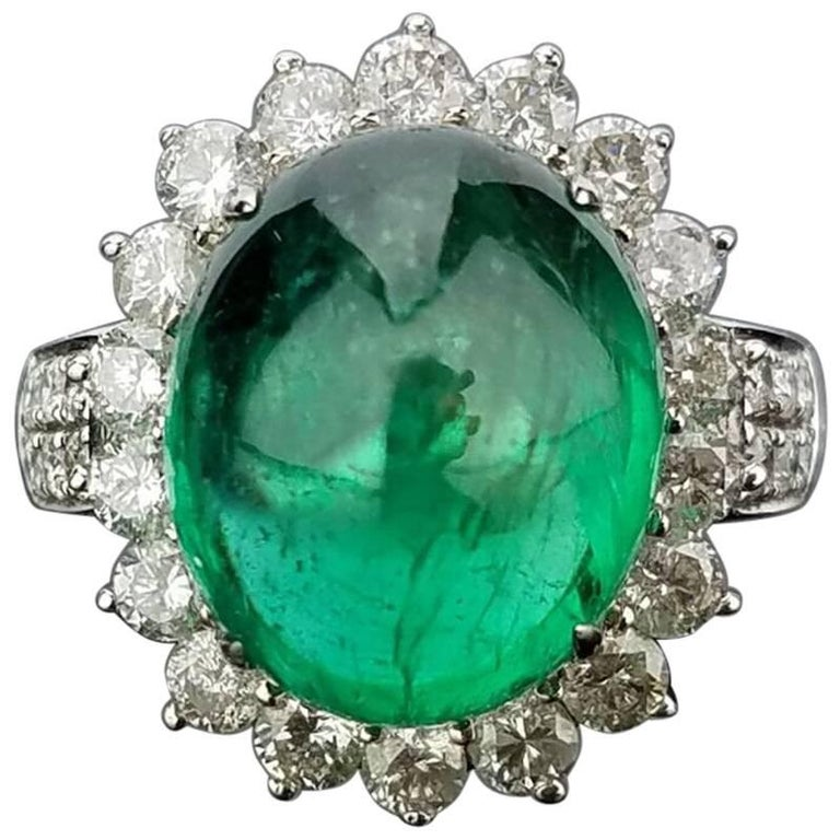 8.35 Carat Emerald Cabochon and Diamond Cocktail Ring