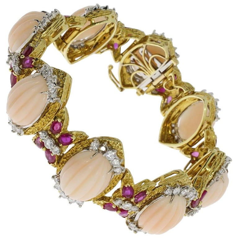 Coral Ruby and Diamond Gold Bracelet