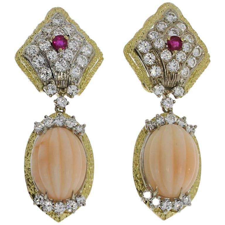 Coral, Diamond and Ruby Gold Earrings