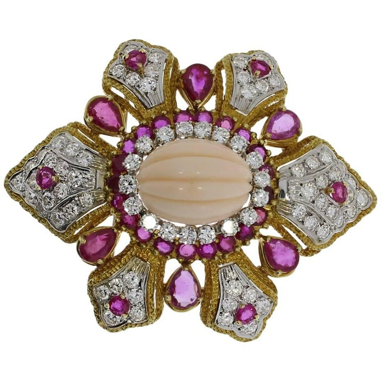 Coral, Diamond and Ruby Gold Brooch or Pendant