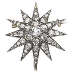 Antique Diamond Star Brooch Pendant