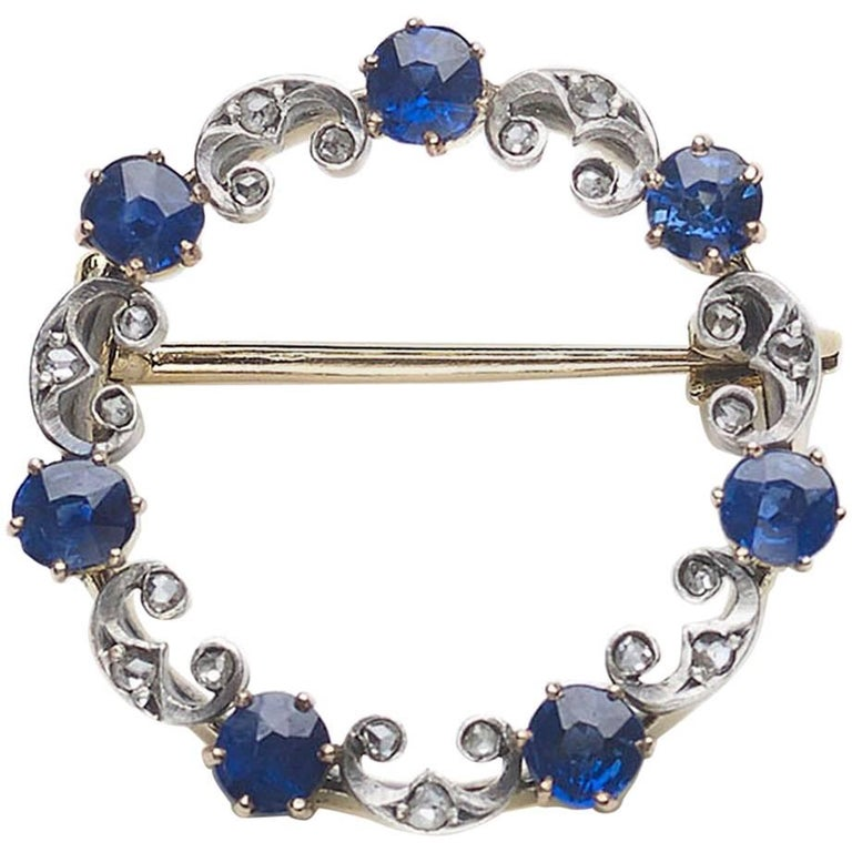 Antique Sapphire and Diamond Circle Brooch