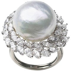South Sea Pearl and Diamond Cluster Ring