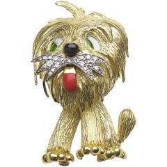 Vintage Gold and Diamond Dog Brooch