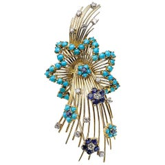 Sapphire, Diamond and Turquoise Shooting Star Brooch