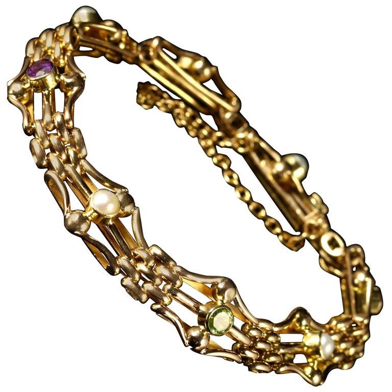 Antique Victorian Suffragette Bracelet 15 Carat Gold, circa 1900