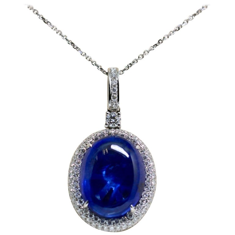 Natural Certified 16 Carat Blue Sapphire and Diamond Pendent For Sale