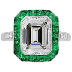 3.15 Carat Emerald Cut Diamond Emerald Halo Engagement Ring