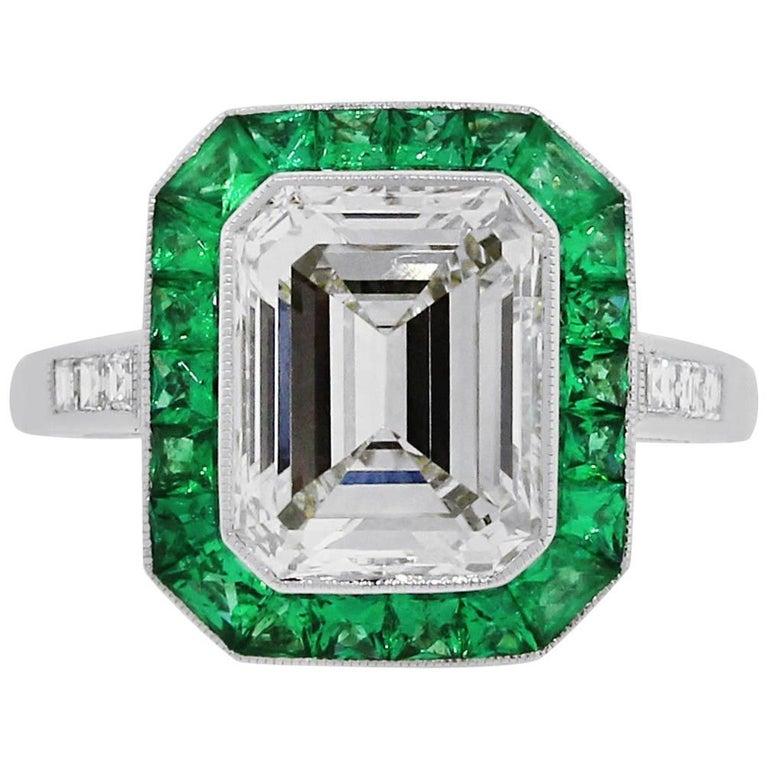 3.15 Carat Emerald Cut Diamond Emerald Halo Engagement Ring