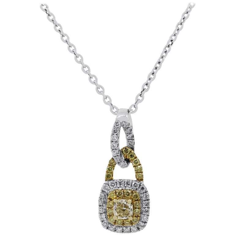 Yellow and White Diamond Cluster Pendant Necklace