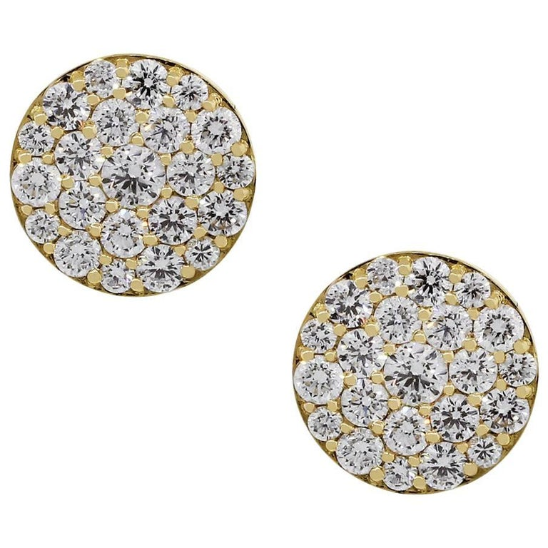 Diamond Pave Disc Earrings