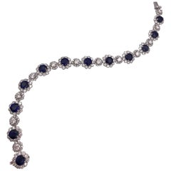 Sapphire and Diamonds Flower Shape Tennis Bracelet