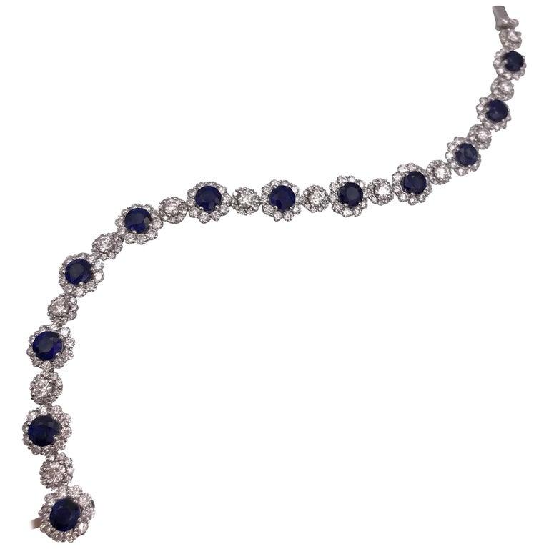 Sapphire and Diamonds Flower Shape Tennis Bracelet