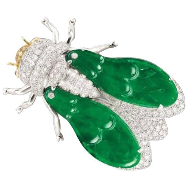 Natural Jadeite Diamond Ruby 18K Gold Cicada Brooch Pendant