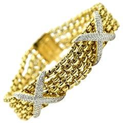 "David Yurman 18 Karat Yellow Gold 1.00 Carat Diamond ""X"" Bracelet"