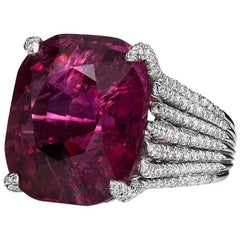 Rubellite Tourmaline and Diamond Ring by Henry Dunay