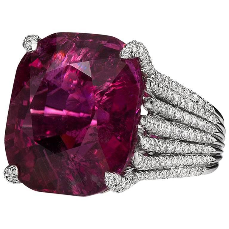 Rubellite Tourmaline and Diamond Ring by Henry Dunay