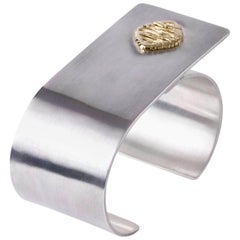 Joan Hornig Gold and Sterling Silver French Cuff Bracelet