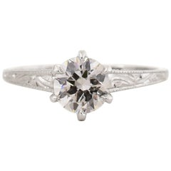 Edwardian Era .90 carat Old European Cut Diamond Platinum Ring