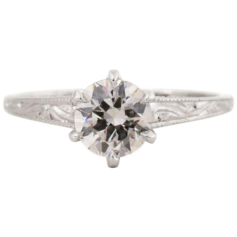 Edwardian Era .90 carat Old European Cut Diamond Platinum Ring
