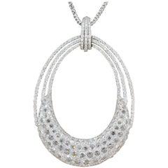 Modern Diamond Gold Pendant Necklace