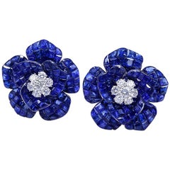 Sapphire Invisible Rose Earrings