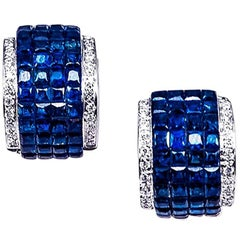 18K White gold invisible Sapphire Hoop Earrings