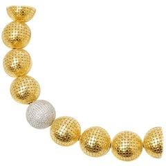 Bottega Veneta 18 Karat Yellow Gold Diamond Statement Sfera Necklace