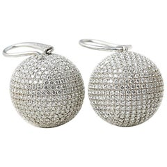 Bottega Veneta 18 Karat White Gold Diamond Sfera Drop Earrings