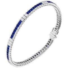 3.59 Carat Sapphire and Diamond White Gold Bracelet