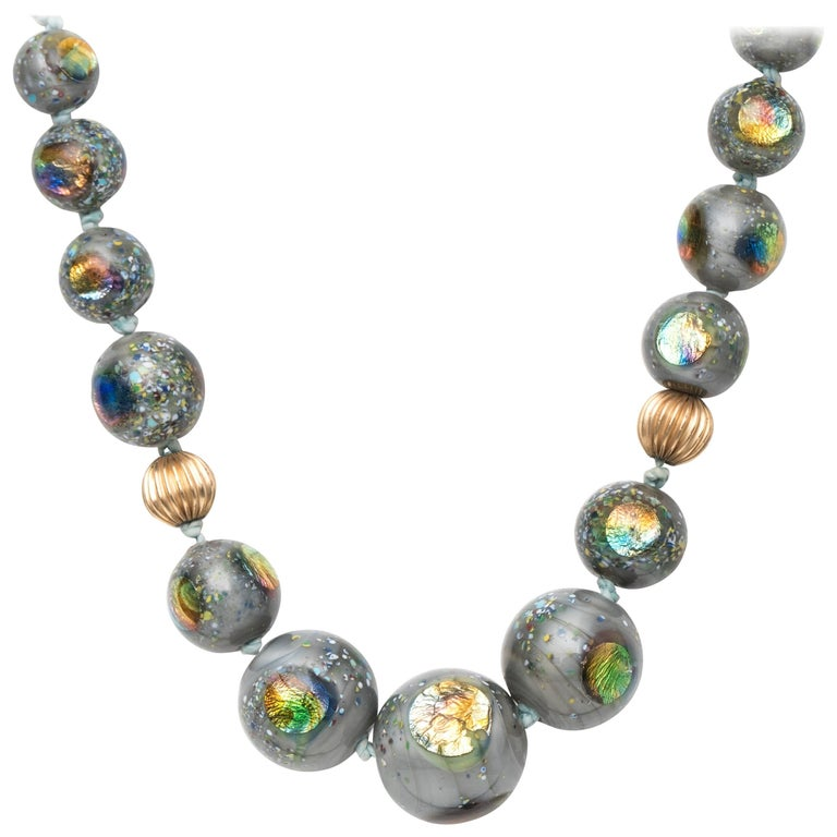 1960s Glass and Ammolite Yellow Gold Bead Necklace