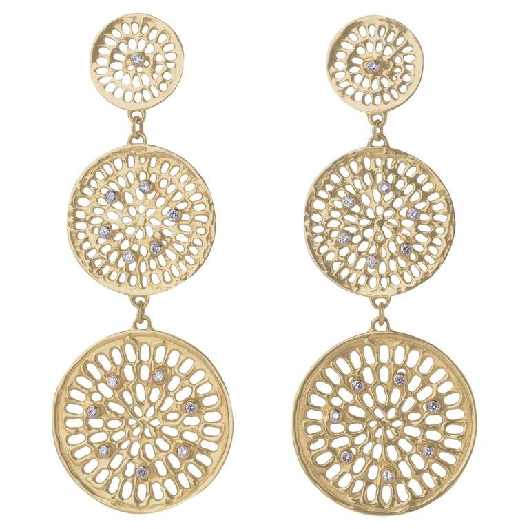 Joan Hornig Triple Diamond Pinwheel Earrings For Sale