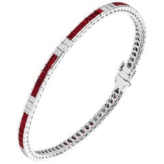2.81 Carat Ruby and Diamond White Gold Bracelet